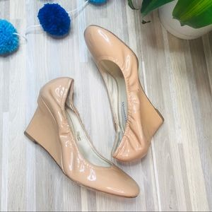 Vera Wang Nude Patent Leather Wedge Heels